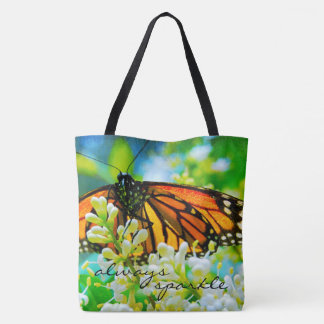 """Always sparkle"" quote monarch butterfly photo Tote Bag"