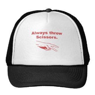Always Throw Scissors Trucker Hats