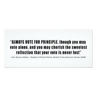 "Always Vote For Principle John Quincy Adams 4"" X 9.25"" Invitation Card"