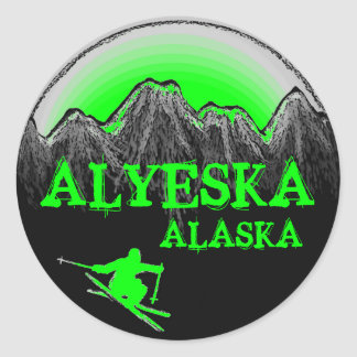 Alyeska Alaska green skier stickers