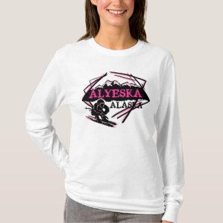 Alyeska Alaska pink theme ski logo ladies hoodie