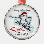 Alyeska Alaska santa hat skier ornament