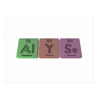 Alyse as Aluminium Yttrium Selenium Post Cards