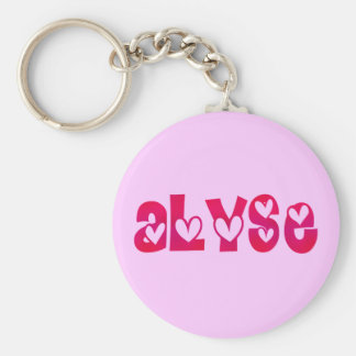 Alyse in Hearts Basic Round Button Key Ring
