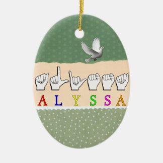 ALYSSA ASL FINGERSPELLED NAME SIGN DEAF CERAMIC ORNAMENT
