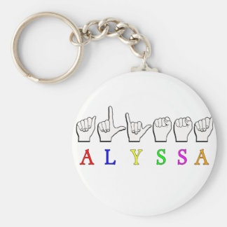 ALYSSA ASL FINGERSPELLED NAME SIGN DEAF KEY RING