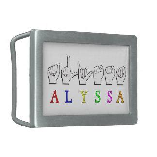 ALYSSA ASL FINGERSPELLED NAME SIGN DEAF RECTANGULAR BELT BUCKLE