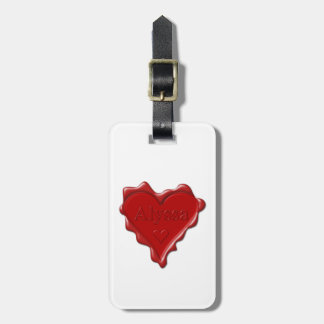 Alyssa. Red heart wax seal with name Alyssa Luggage Tag