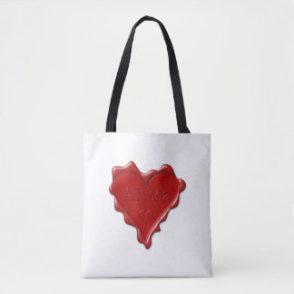 Alyssa. Red heart wax seal with name Alyssa Tote Bag