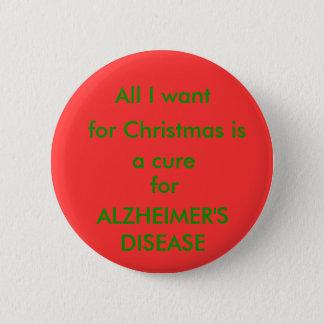 Alzheimer Cure Christmas Button