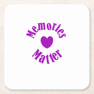 Alzheimers Awareness Purple Ribbon Memories Love Square Paper Coaster