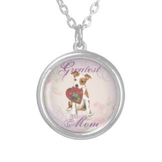 Am Staff Heart Mom Silver Plated Necklace