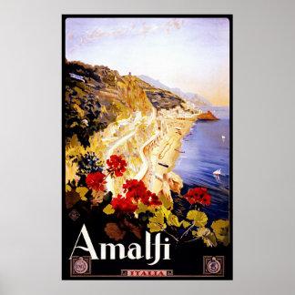 Amalfi ~ Italia ~ Vintage Italian Travel Poster. Poster
