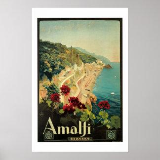 Amalfi Italia Vintage Travel Poster