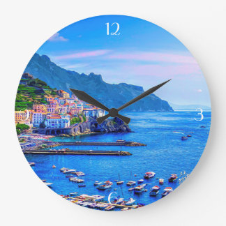 Amalfi Italy Europe Colorful Photo Art Large Clock