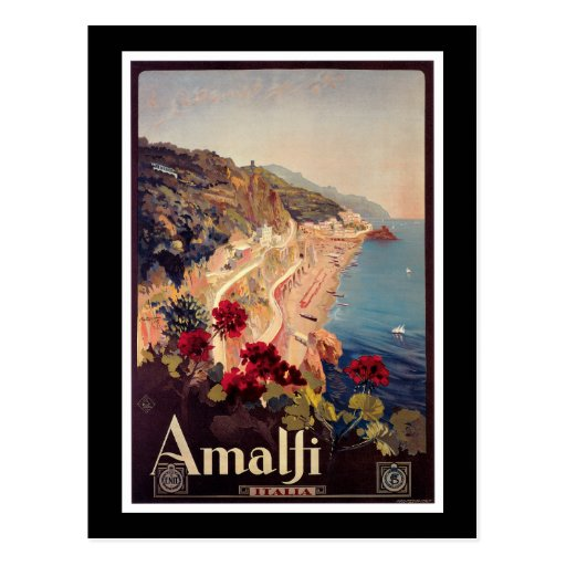 Amalfi, Italy  Vintage Travel Poster Post Cards
