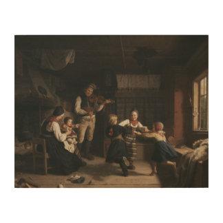 Amalia Lindegren - Sunday Evening in a Farmhouse i Wood Wall Decor