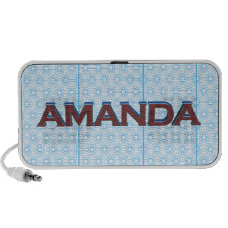 Amanda 3D text graphic over light blue lace iPhone Speaker