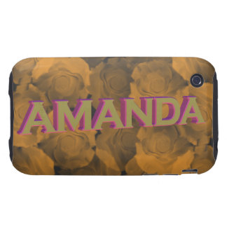 Amanda in  3D gold over peach chroma rose blooms Tough iPhone 3 Cover