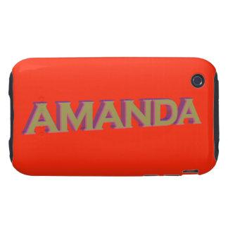Amanda in 3D gold over tangerine tango iPhone 3 Tough Case