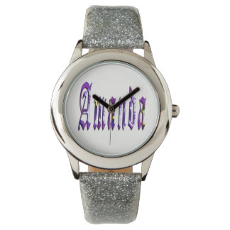 Amanda, Name, Logo, Girls Silver Glitter Watch