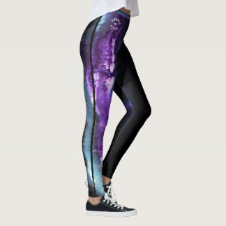 """Amanda"" Purple Abstract with strip Leggings"