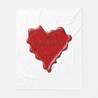 Amanda. Red heart wax seal with name Amanda Fleece Blanket