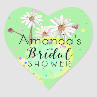 Amanda's Flower Bridal Shower Heart Sticker