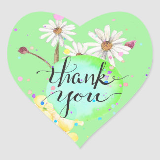 Amanda's Flower Splatter Thank You Heart Sticker