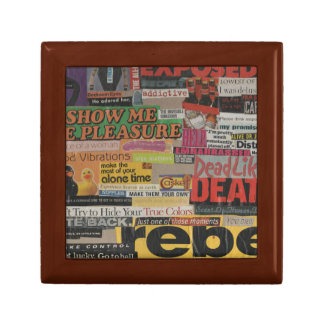 Amanda's magazine and cardboard picture collage #8 small square gift box