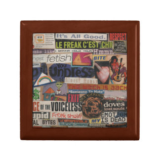 Amanda's magazine & cardboard picture collage #12 small square gift box