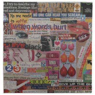 Amanda's magazine & cardboard picture collage #13 napkin