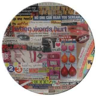 Amanda's magazine & cardboard picture collage #13 plate