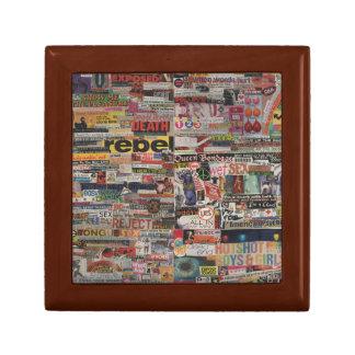 Amanda's magazine & cardboard picture collage #22 small square gift box