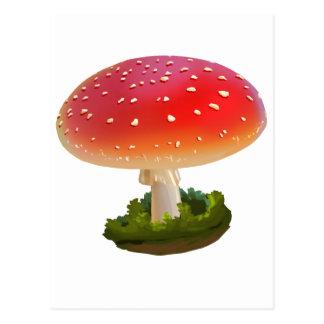Amanita Red Mushroom Art White Dots Postcard