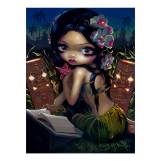 Amara and the Book ART PRINT menehune tiki lowbrow