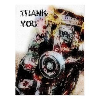 Amarillo Auto Graffiti Grunge Thank You Postcard
