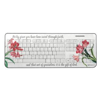 Amarylis Flowers Saved by Grace Wireless Keyboard
