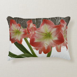 Amaryllis in Snow I Red Holiday Winter Floral Decorative Cushion