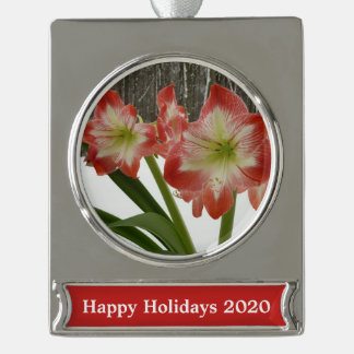 Amaryllis in Snow I Red Holiday Winter Floral Silver Plated Banner Ornament