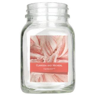 Amaryllis Petals Personalized Wedding Mason Jar