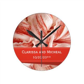 Amaryllis Petals Personalized Wedding Round Clock