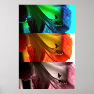 Amaryllis Pop Art Triptych Poster