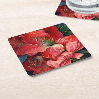 Amaryllis Square Paper Coaster