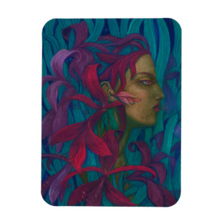 Amaryllis, woman & flowers fine art pop-surrealism magnet
