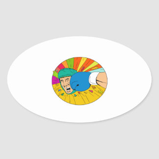 Amateur Boxer Hit By Glove Punch Oval Drawing Oval Sticker