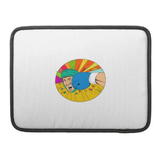 Amateur Boxer Hit By Glove Punch Oval Drawing Sleeve For MacBook Pro