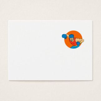 Amateur Boxer Overhead Punch Circle Drawing Business Card