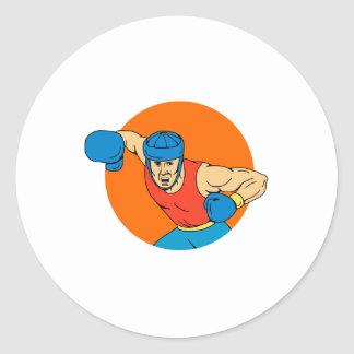 Amateur Boxer Overhead Punch Circle Drawing Classic Round Sticker