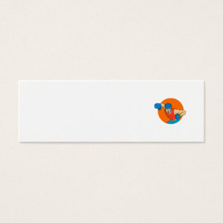 Amateur Boxer Overhead Punch Circle Drawing Mini Business Card